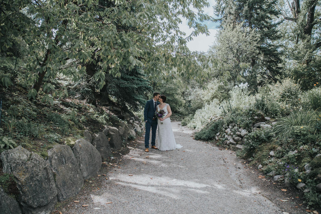 Bride and Groom portraits in Readers Rock Garden Calgary