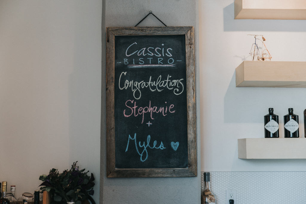 Cassis Bistro Congratulations Stephanie + Myles sign