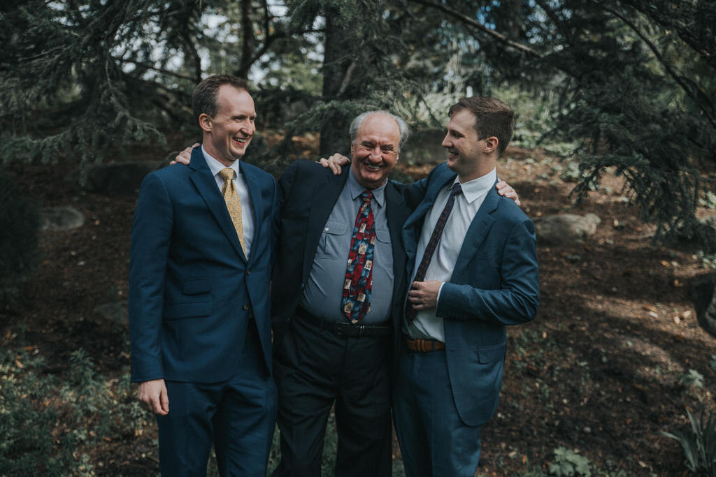 Calgary Wedding Photography Garden Wedding Groom with Dad and brother