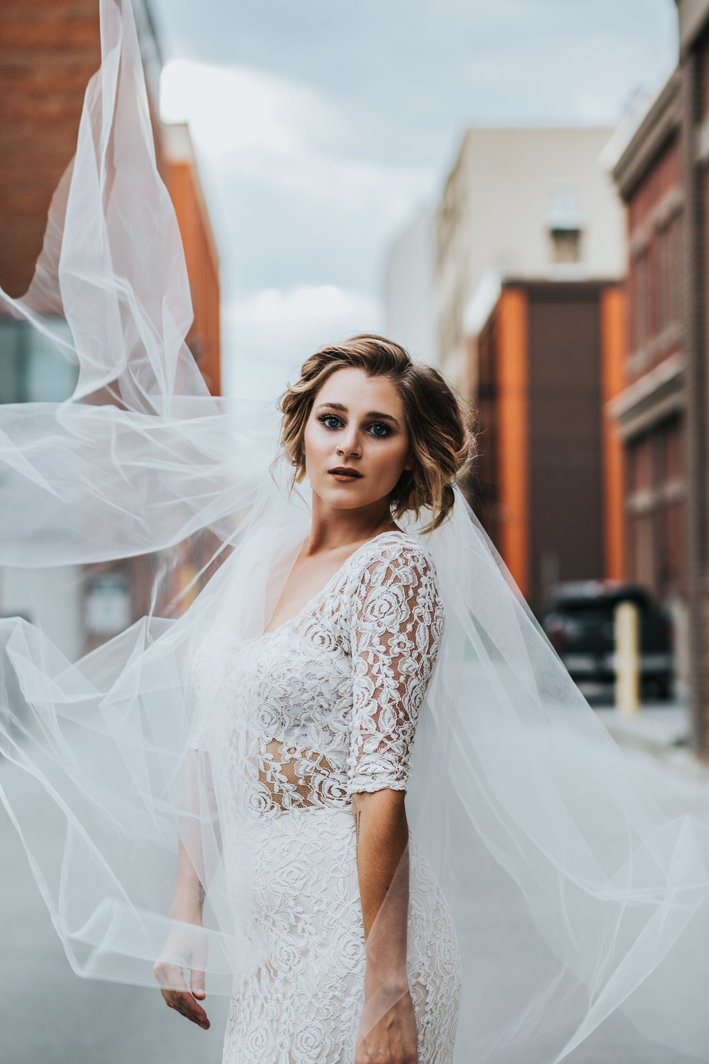 Downtown Calgary Wedding Editorial Portrait of Bride