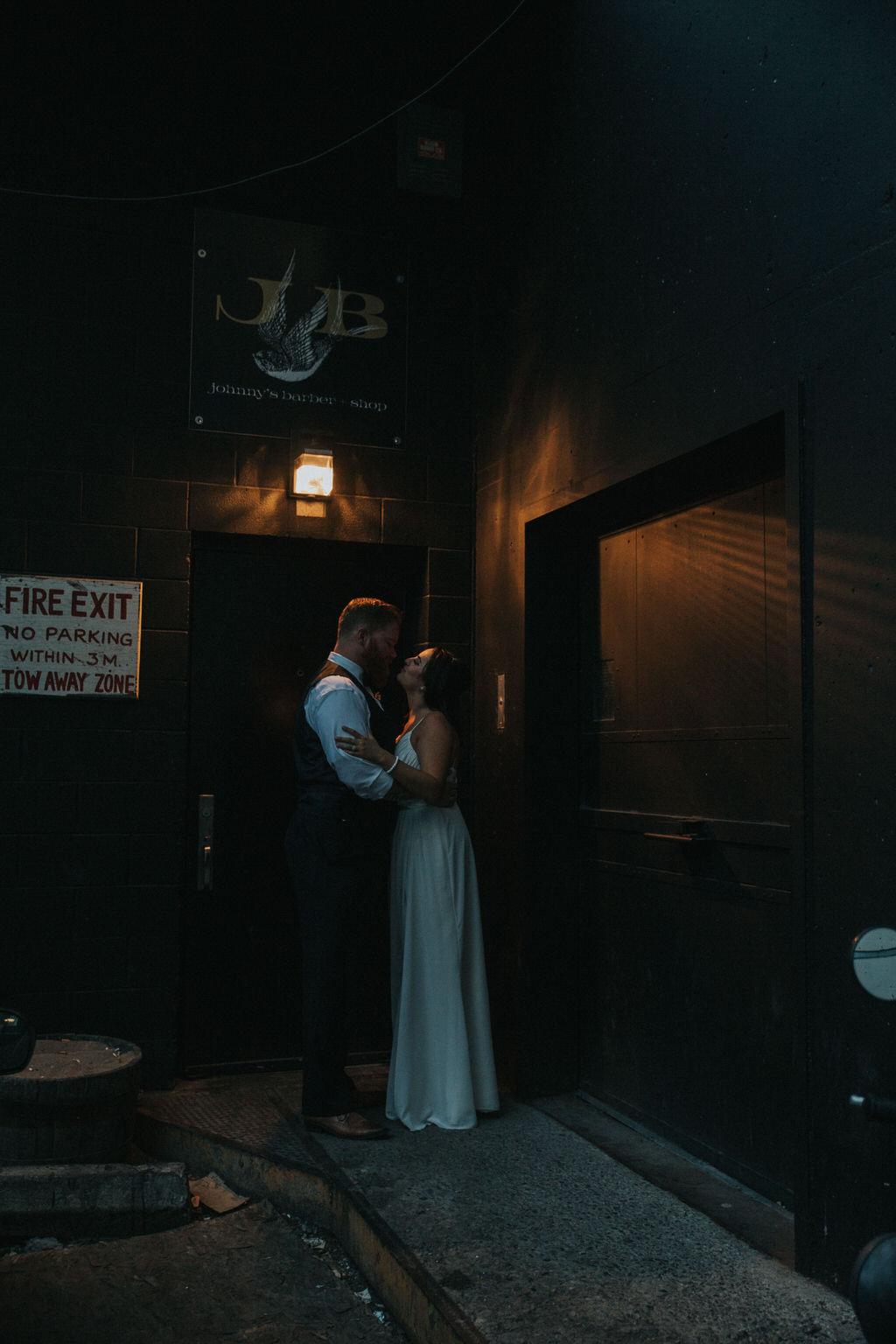 Calgary Wedding Photography Bride and Groom Portraits in dark alley