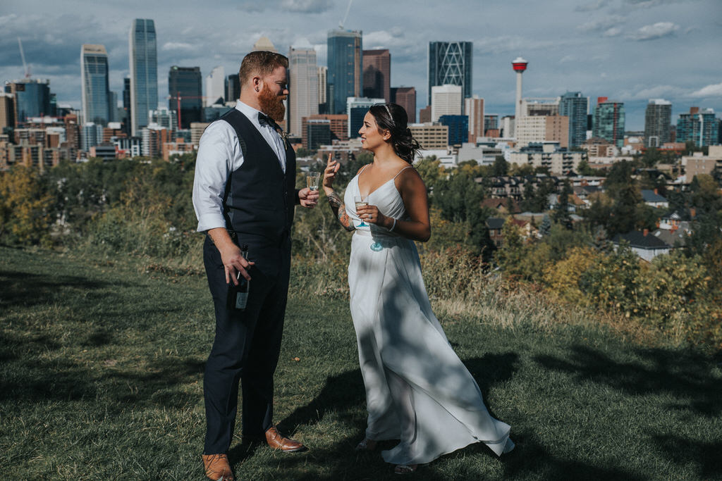Calgary Wedding Photography Bridal Portraits over looking Downtown Calgary