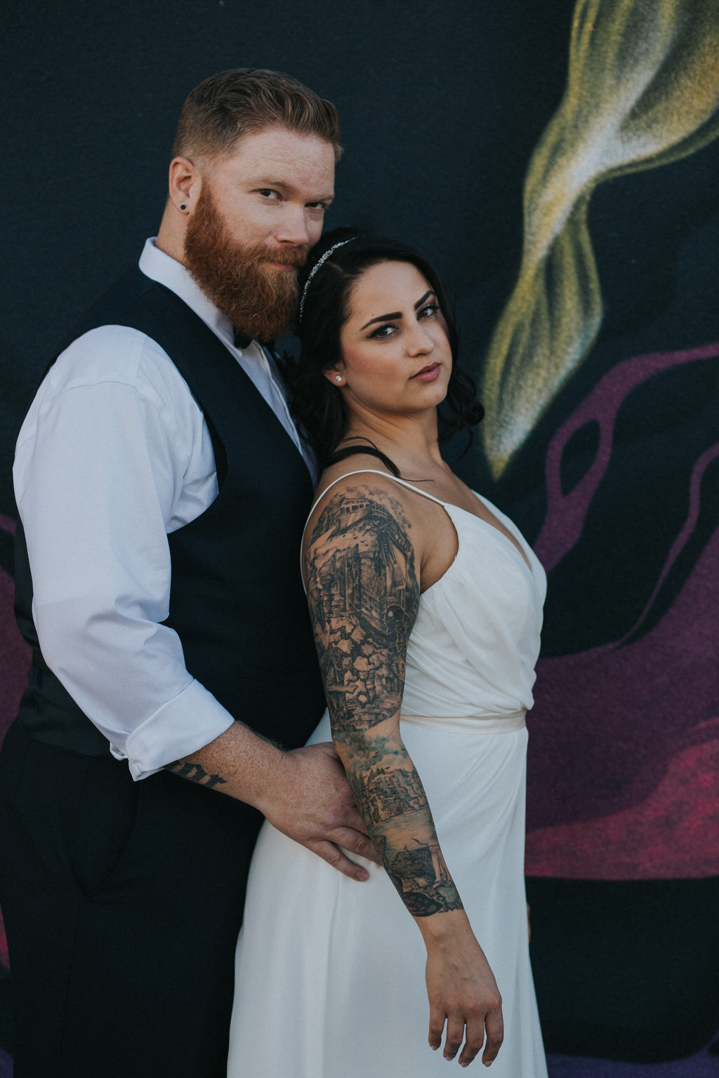 Calgary Wedding Photography Bridal Portraits against graffiti wall in downtown calgary