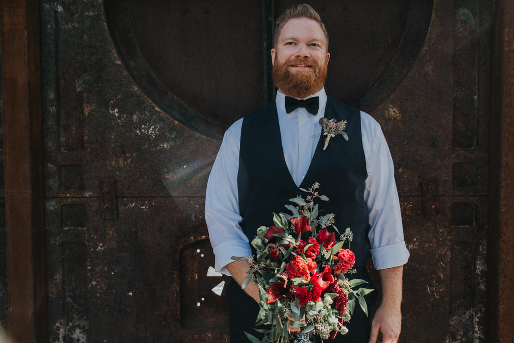 Calgary Wedding Photography Bridal Portraits Groom with Wedding Bouquet