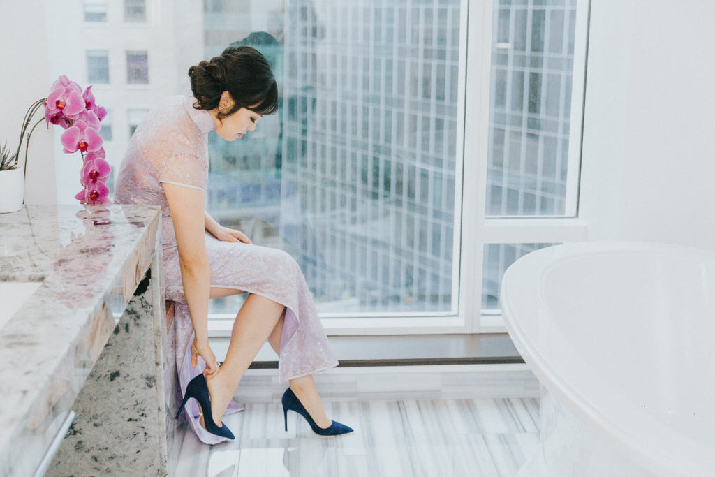 Vancouver Wedding Photography Bride putting on shoes