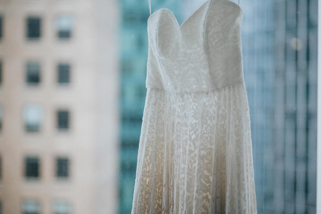 Wedding dress in hotel window