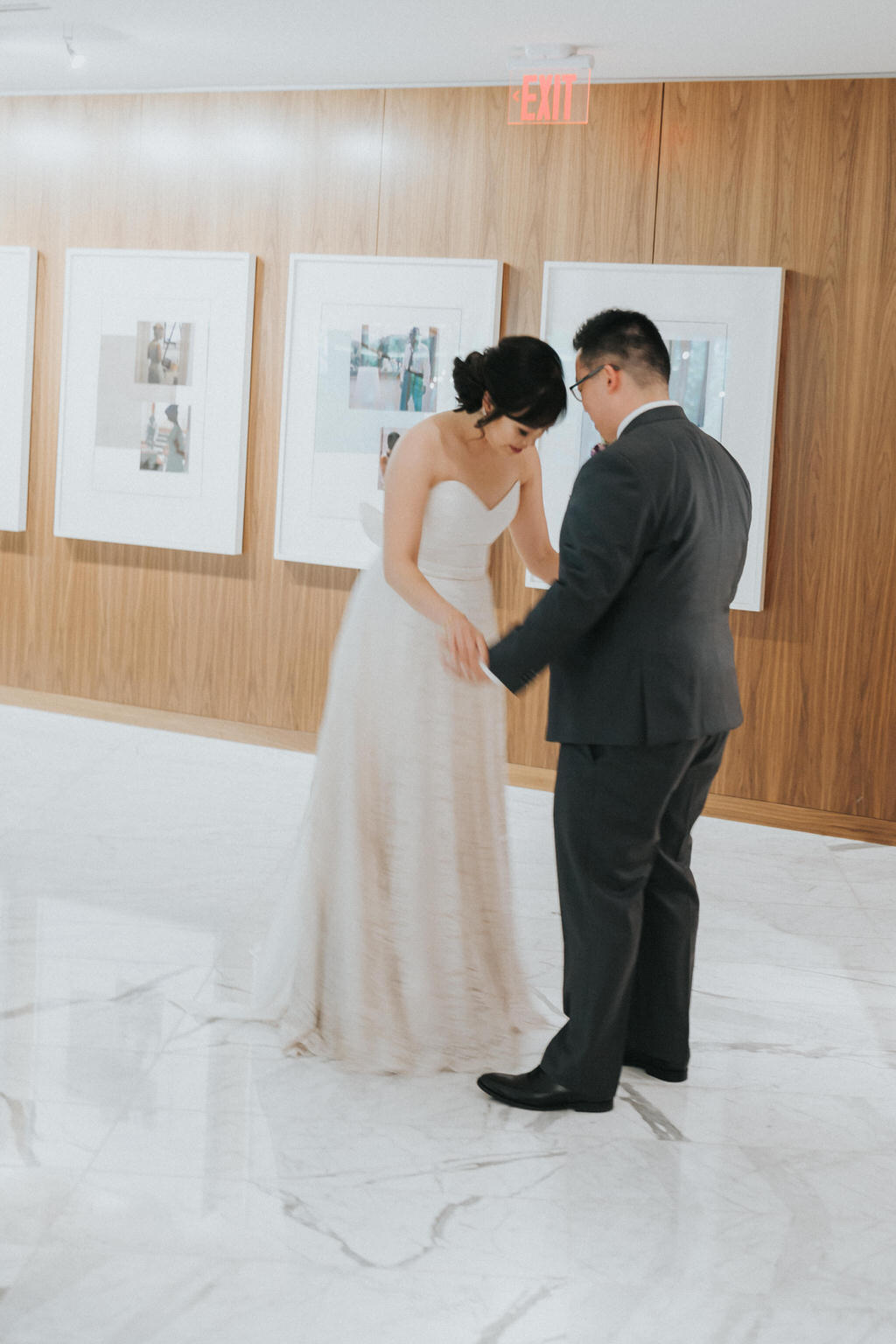 Groom and bride first look vancouver hotel