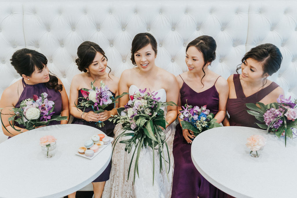 Portrait of Bride and Bridesmaids with wedding bouquets