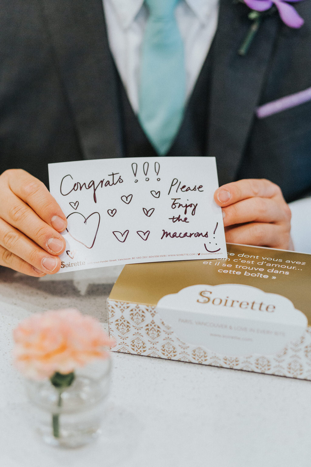 Box of Macarons with card reading Congrats! Please enjoy the macarons!