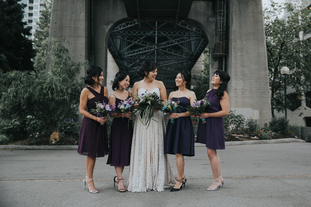 Wedding Bridal Party under bridge in Vancouver