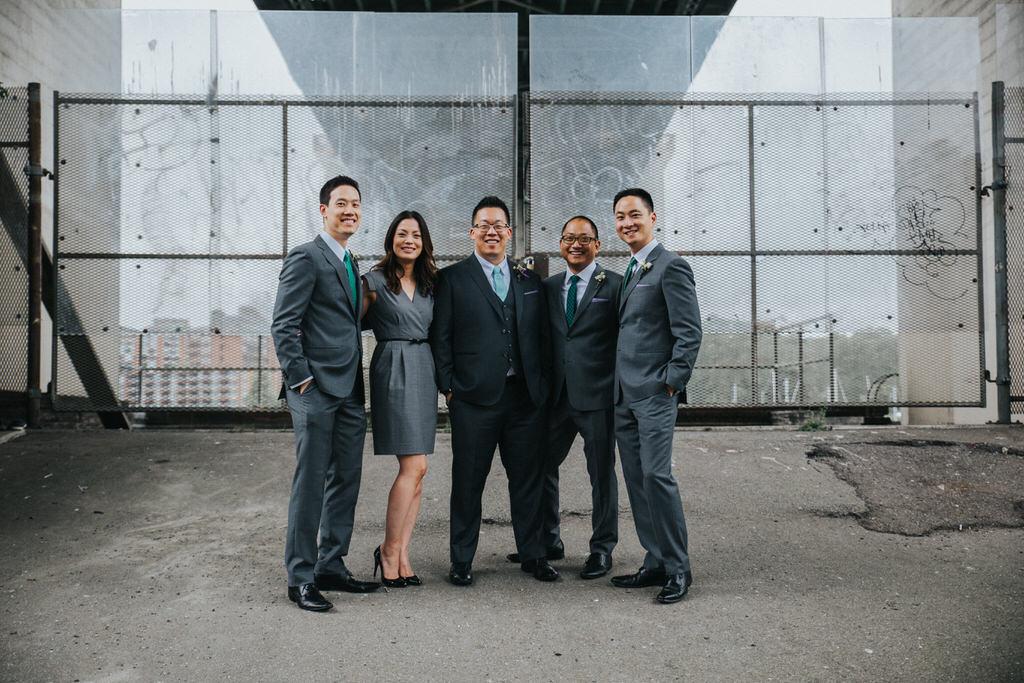 Wedding Bridal Party under bridge in Vancouver