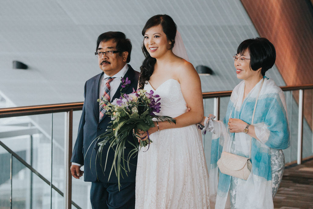Wedding Ceremony Vancouver Convention Centre Bride with parents