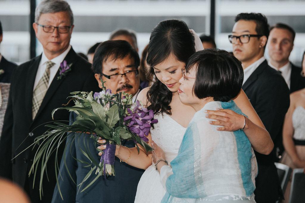 Wedding Ceremony Vancouver Convention Centre Bride with parents