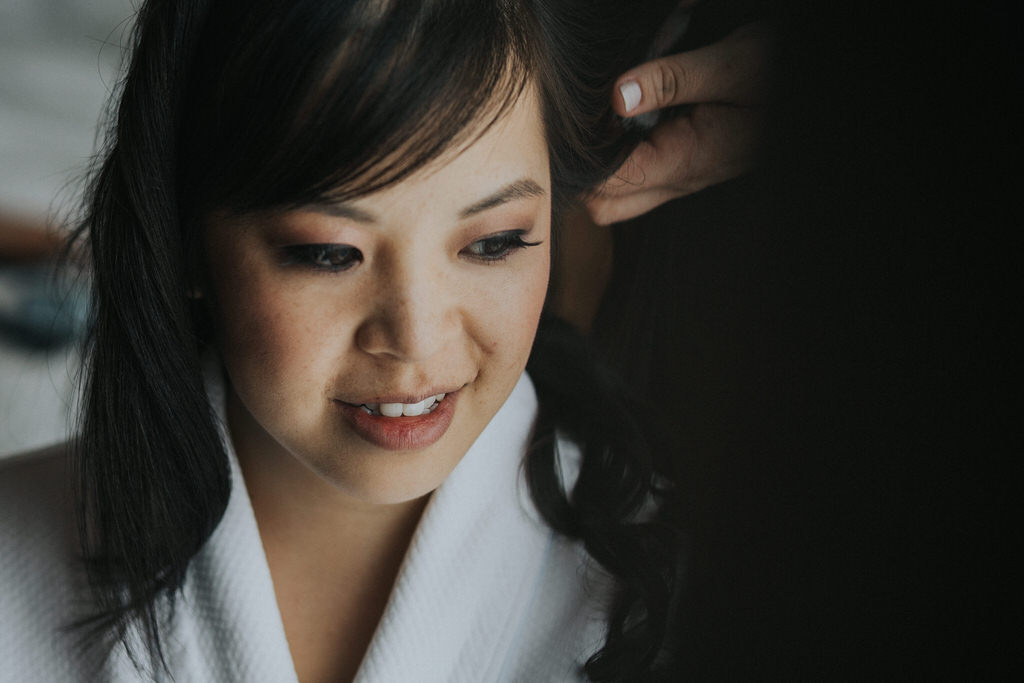 Vancouver Wedding Photographer Bride getting hair done