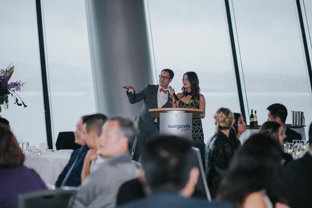 Masters of Ceremony speaking at Vancouver Convention Centre Wedding