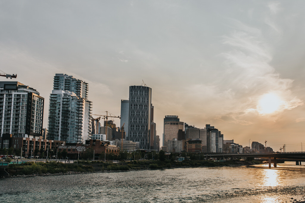Downtown Calgary Skyline at sunset over Bow River
