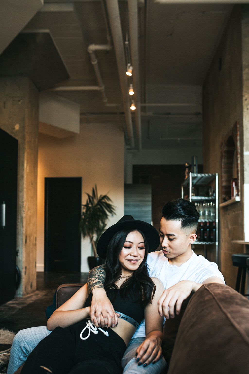 Calgary In Home Couple Session in Industrial Loft Sue Moodie Photography