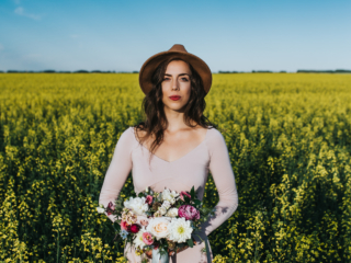 Calgary Portrait Session in Canola Field Black Earth Floral Wedding Bouquet