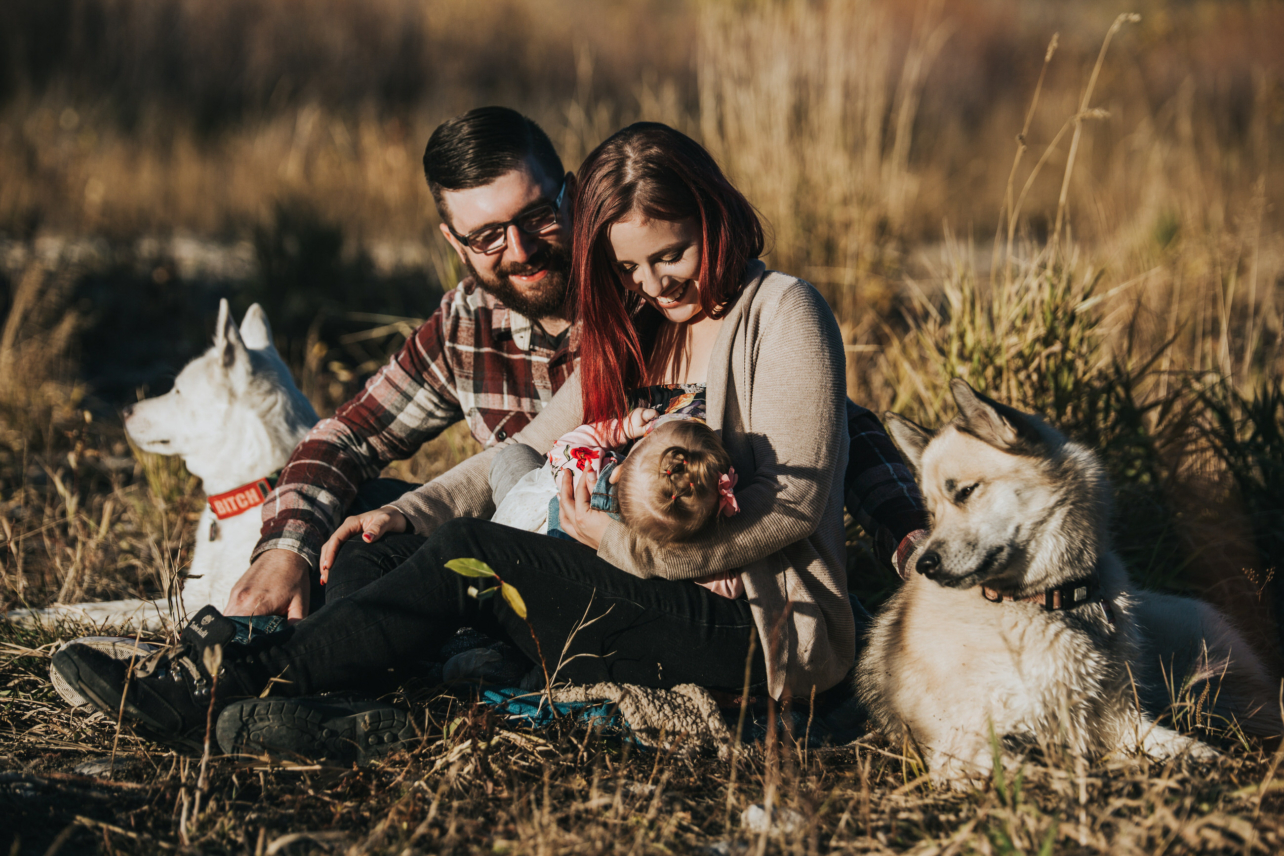 Bow River Fall Family Session with Dogs